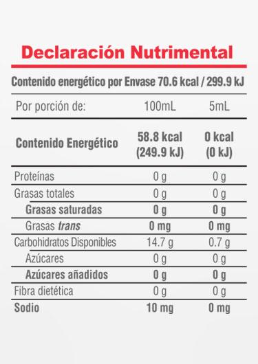 Informacion Nutrimental - Extracto natural de vainilla