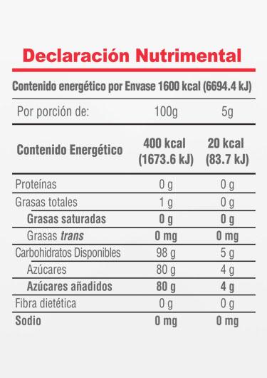 Informacion Nutrimental - Postrelicioso® Azúcar Glass Sabor  Vainilla