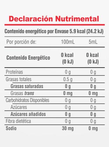 Informacion Nutrimental - Vainilla Molina® Cristalina