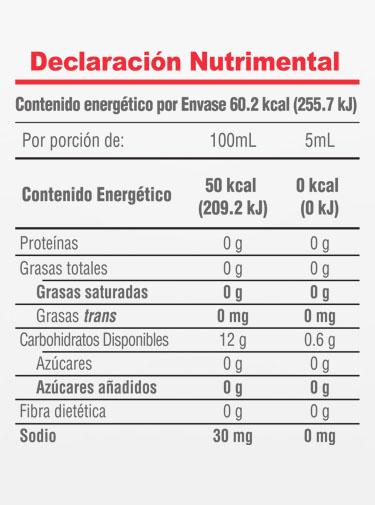 Informacion Nutrimental - Gran  Reserva Molina® Extracto de Vainilla Natural